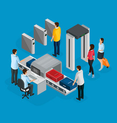 isometric people in airport concept vector image