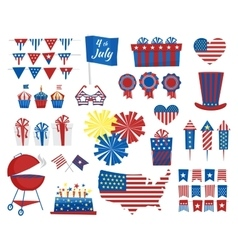july 4 icons independence day usa colors vector image