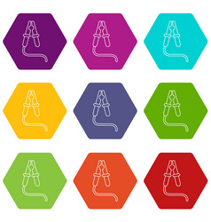 jumper cable icons set 9 vector image