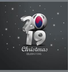 Korea south flag 2019 merry christmas typography vector
