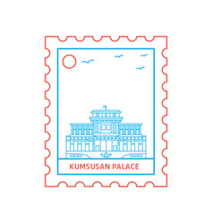 Kumsusan palace postage stamp blue and red line vector
