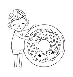 little boy with donut kawaii character vector image