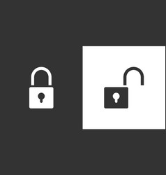 lock and unlock icon on black and white background vector image