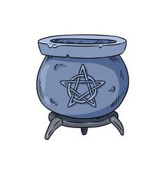 Magic cauldron with pentagram doodle hand drawn vector