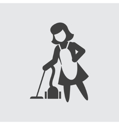 Maid with vacuum cleaner icon vector