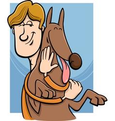 Man and dog cartoon vector