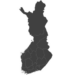 Map of finland split into regions vector