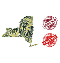 Military camouflage composition map new york vector
