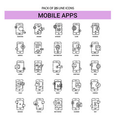 Mobile apps line icon set - 25 dashed outline vector