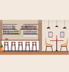 modern cocktail bar with alcohol bottles empty no vector image