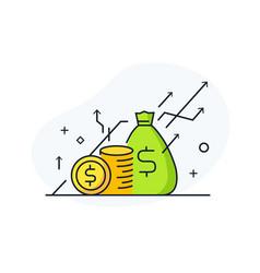 Money falls into piggy bank way to success vector