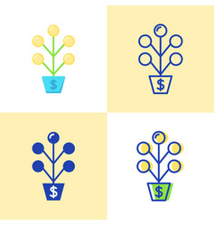 money tree icon set in flat and line style vector image