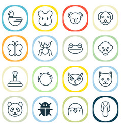 Nature icons set collection of puppy marsupial vector