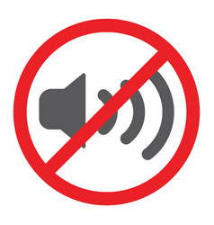 no sound glyph icon prohibited and silence no vector image