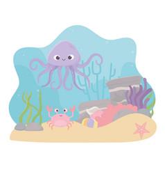 octopus crab starfish life coral reef cartoon vector image