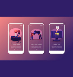 online video games mobile app page onboard screen vector image