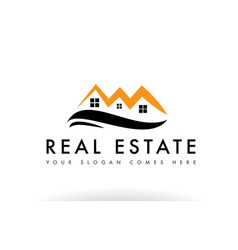 Orange black real estate house logo icon company vector