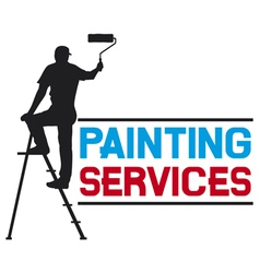 Painting services design - man painting wall vector