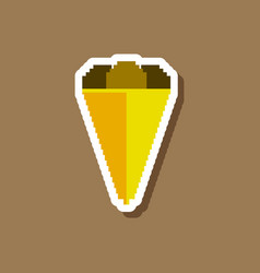 Paper sticker on stylish background ice cream cone vector