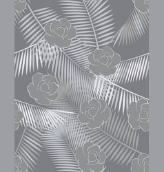 pattern with peonies and tropical leaves vector image