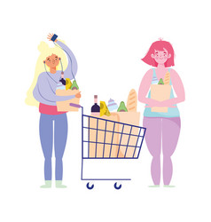 People hoarding purchase woman and girl vector