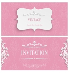 Pink 3d Vintage Invitation Card with Floral vector
