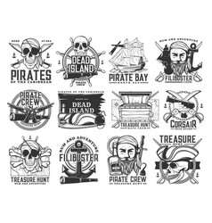 pirate icons jolly roger skulls piracy symbols vector image