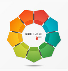 Polygonal circle chart infographic template with 9 vector