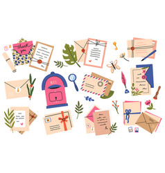 postal envelopes and cards postcards craft paper vector image