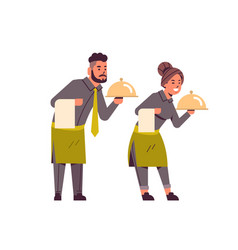 Professional waiters couple holding dish man woman vector
