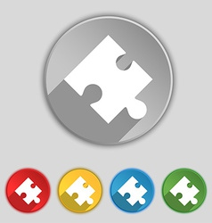 Puzzle piece icon sign Symbol on five flat buttons vector