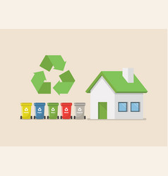 recycle bins set with eco house vector image
