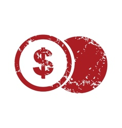 Red grunge dollar coin logo vector image