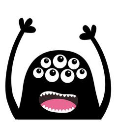 screaming monster head silhouette many eyes teeth vector image