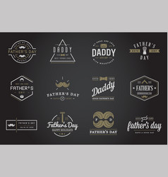 Set happy fathers day typography vintage icons vector