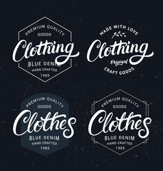 set of clothing and clothes hand written lettering vector image