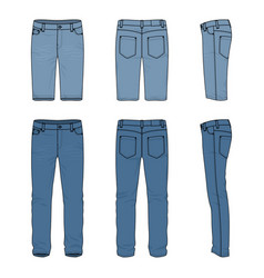 set of male jeans and shorts vector image