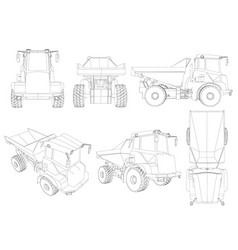 set with the contours of the truck from black vector image