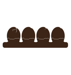 Silhouette broken eggs vector