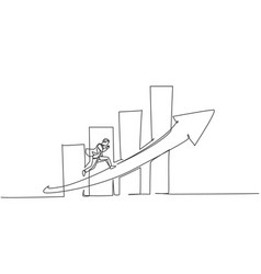 Single continuous line drawing young worker vector