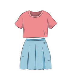 Skirt with t-shirt color vector