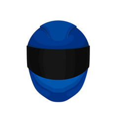 solid bright-blue motorcycle helmet with black vector image
