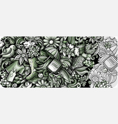 spring hand drawn doodle banner cartoon detailed vector image