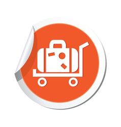 Suitcase icon orange sticker vector