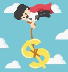 Super Business pulling dollar sign not let money vector