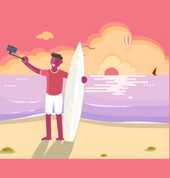 surfer man with board vector image