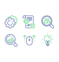Swipe up seo analysis and search employees icons vector