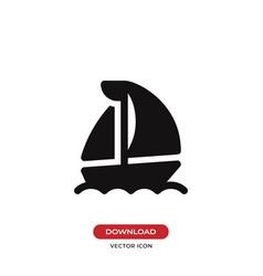 the sail boat icon sailing shipyacht symbol vector image