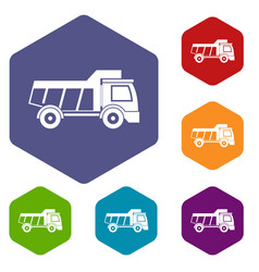 toy truck icons set hexagon vector image