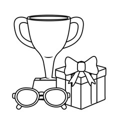 trophy with gift box and glasses black and white vector image